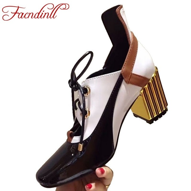 FACNDINLL new mixed color genuine leather shoes square toe sexy high heels leather pumps lace-up women pumps ladies casual shoes