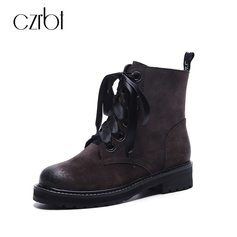 CZRBT Autumn Winter Wedges Heel Cross-tied Ankle Boots Women Genuine Leather Boots Retro Round Toe Casual Short Boots For Woman women ankle boots handmade genuine leather woman boots autumn winter round toe soft comfotable retro boot shoes female footwear