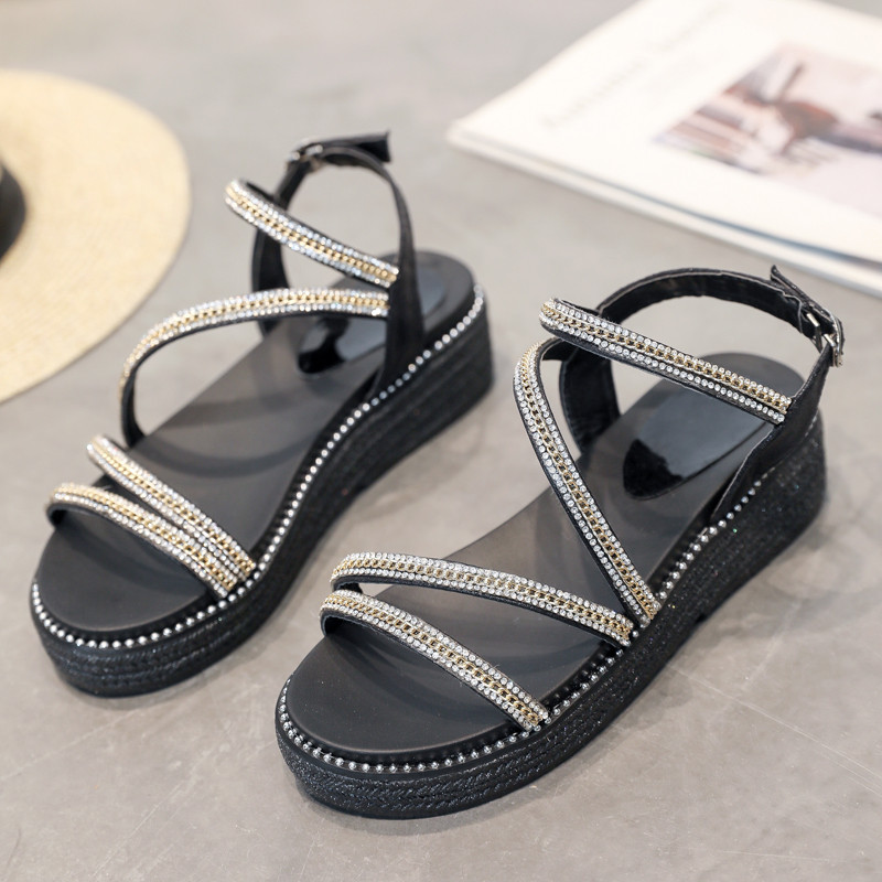 TANGNEST Women Sandals Platform-Shoes Mid-Heels Rome-Style Fashion Casual XWZ5861 Muffin-Bottom