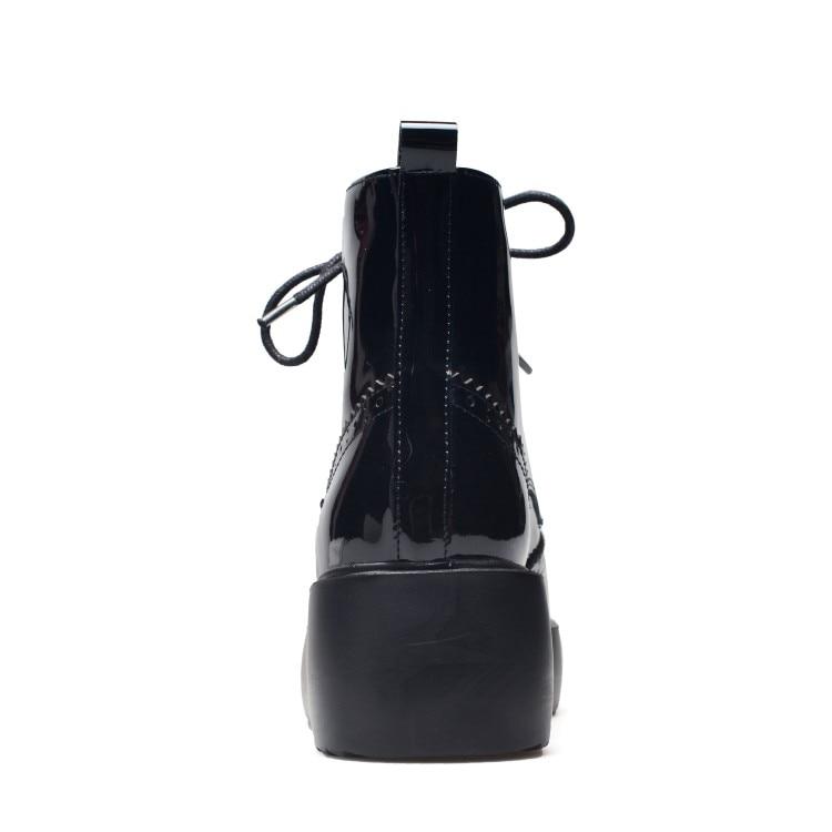 Planos Genuino Zapatos Leather E black Patent Nuevo Marca Cowhide Invierno Otoño Las Black Mujeres De 2018 Botas Plataforma Diseño {zorssar} Cuero 6fwIxqfZ