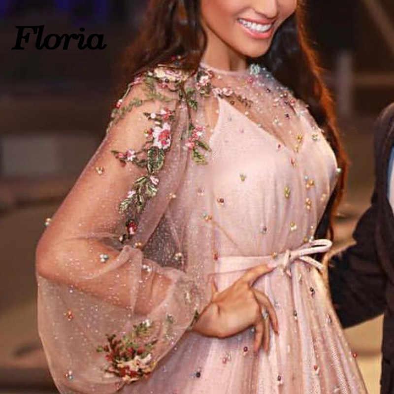 ... Spearkle Pink Evening Dresses 2018 Dubai Turkey Arabic Pearls Party  Prom Dress For Weddings Moroccan Kaftan ... 47bb460c735a