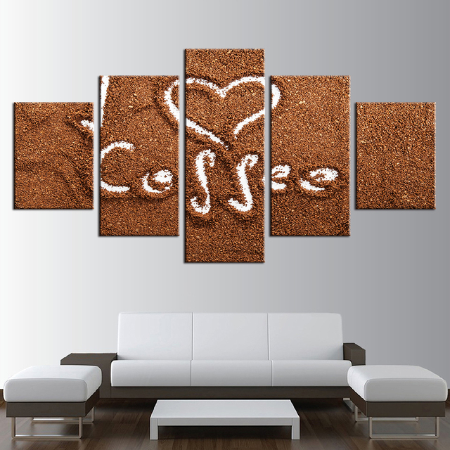 Modular Canvas Paintings Wall Art Frame For Living Room Decor 5 Pieces Love  Coffee Poster HD Part 40