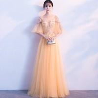 90c2c7d2a798de Long Chiffon Evening Gowns For Women 2019 Golden Half Sleeve Chiffon A Line Party  Prom Dresses