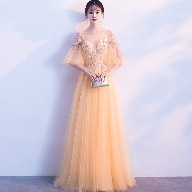 Long Chiffon Evening Gowns for Women 2019 Golden Half Sleeve Chiffon A Line Party   Prom     Dresses   Custom Made Vestidos