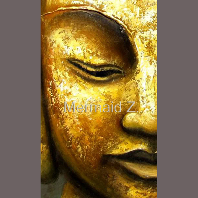 hand made Thai oil painting Golden Buddha Head Portrait Buddha art ...
