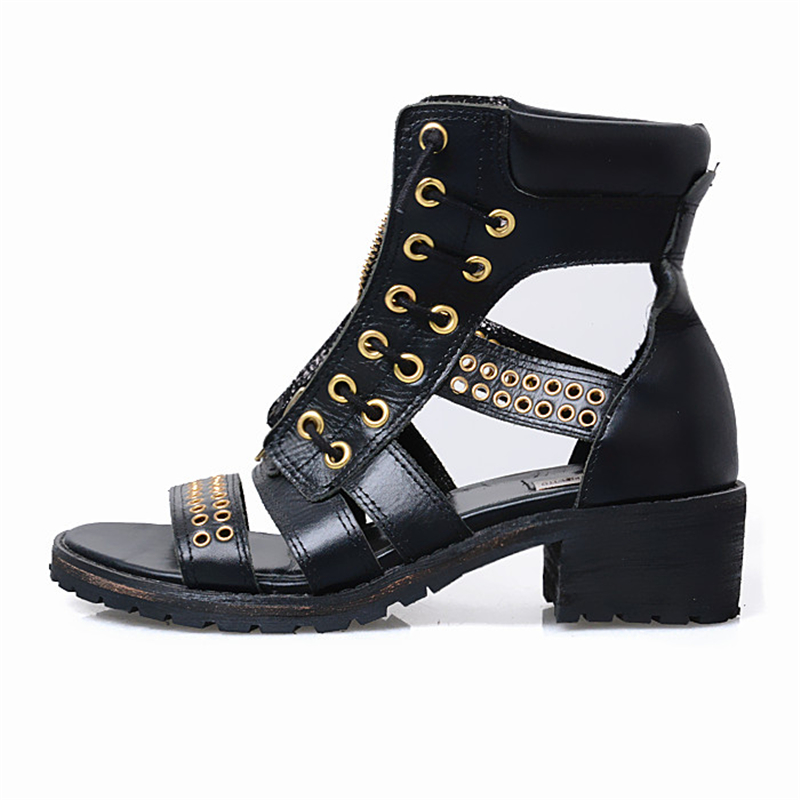 Cuero Moda Mujer Real Black Para Gladiador 2017 Círculo Prova Calado brown Sandalias Perfetto Hecho A Metal Elegantes Bajos De Zapatos Mano Tacones qPCRXIOxcw