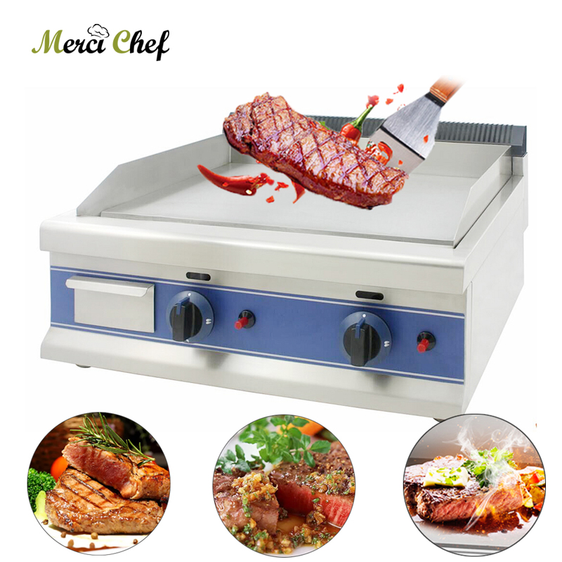 все цены на Steak Meat Barbecue Grills Griddle 60*40cm Double Burner BBQ Grill Stove LPG Easy-Cleaning with Oil Collector Gas Grill онлайн