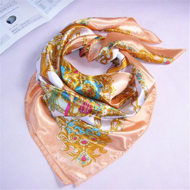 Womail Women Big Size 90x90cm Imitated Silk Square Scarf Shawls High quality Printed Scarves foulard soie #20 Gift