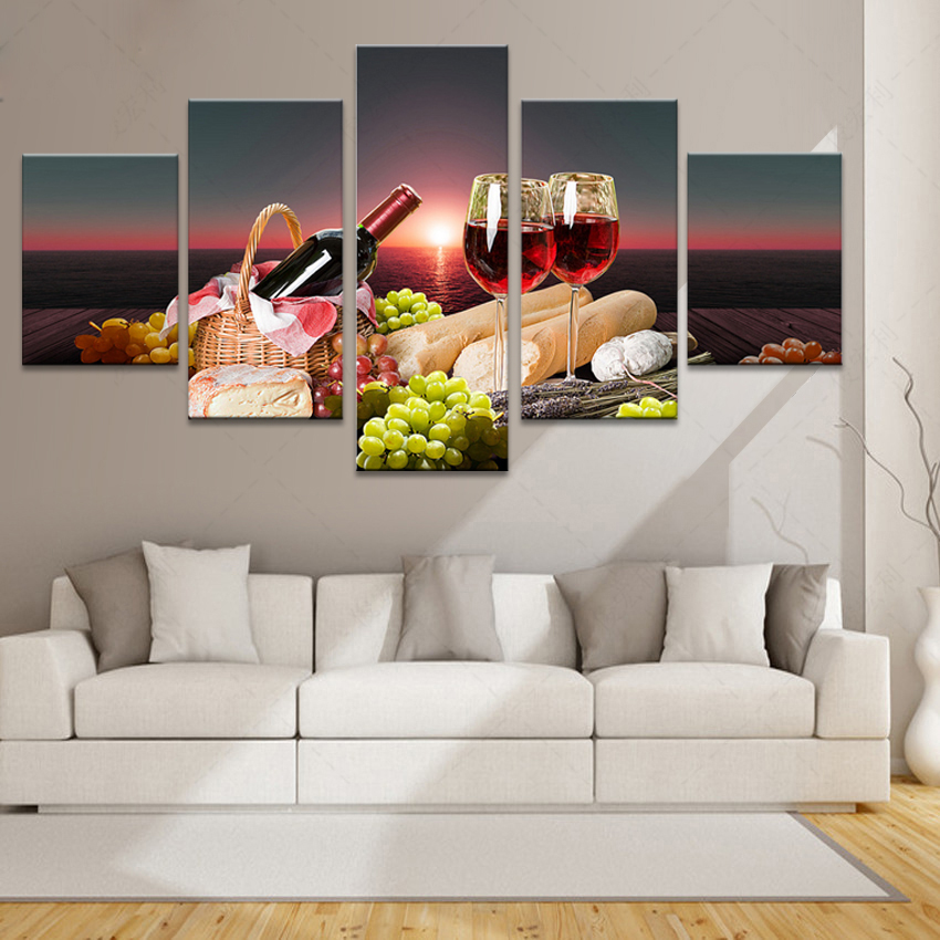Kitchen Great Room At Dusk: Aliexpress.com : Buy 5 Piece Canvas Art HD Print Free