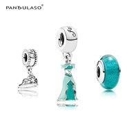 Pandulaso Jasmine's Dress & Princess Crown Pendants & Murano Glass Beads Sets for DIY Jewelry Making Fit Women Charms Bracelets