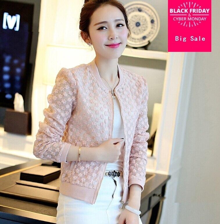 Just 2017 Hot Sale Women Soluble Lace Jacket Outwear Women Tops Long Sleeve Slim Wild Outwear Women Lace Coat G36 And Digestion Helping Women's Clothing Basic Jackets