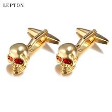 hot deal buy lepton mens jewelry superman cufflinks high quality copper skull cuff links superhero skeleton head marvel cufflinks for mens