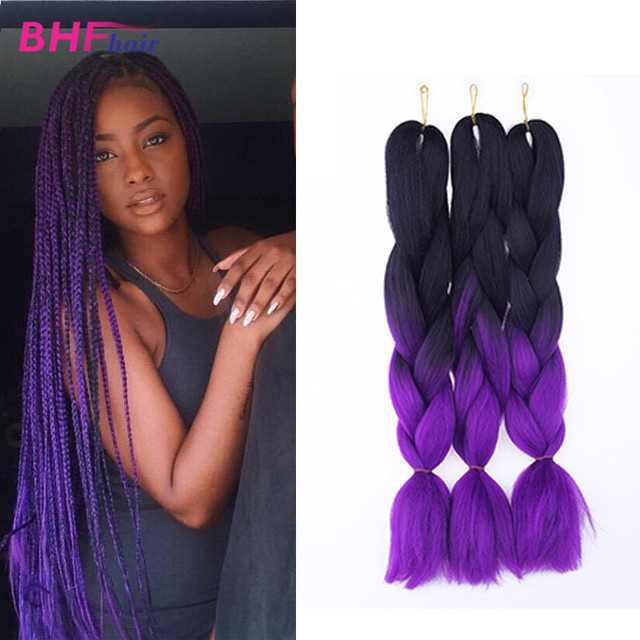 24 Quot Ombre Purple Expression Synthetic Box Braids Hair Cheap