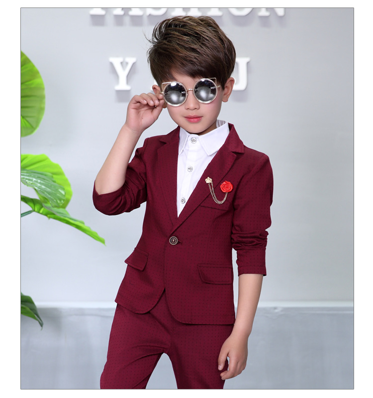Child Blazers Suits Coat Pant Brooch 3 Pieces Boys Clothing 2