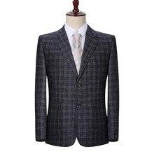 WAEOLSA Man Plaid Blazer Blue Gray Jacket Suit Men Small Check Blazers Male Elegant Coat Spring Autumn Garment For