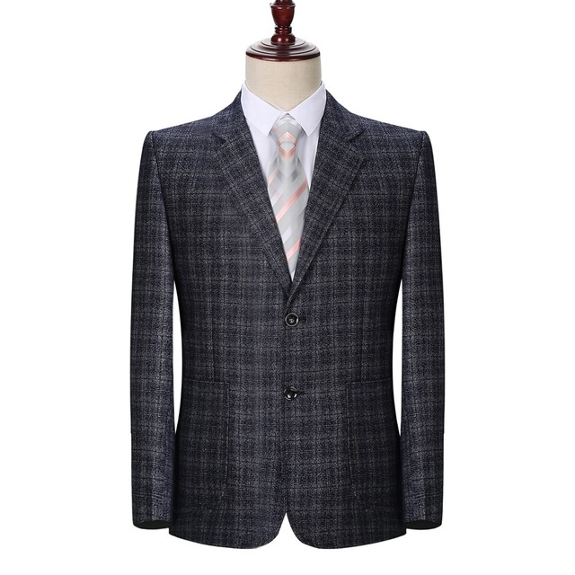 WAEOLSA Man Plaid Blazer Blue Gray Jacket Suit Men Small Check Blazers Male Elegant Suit Coat Spring Autumn Garment For Men Coat