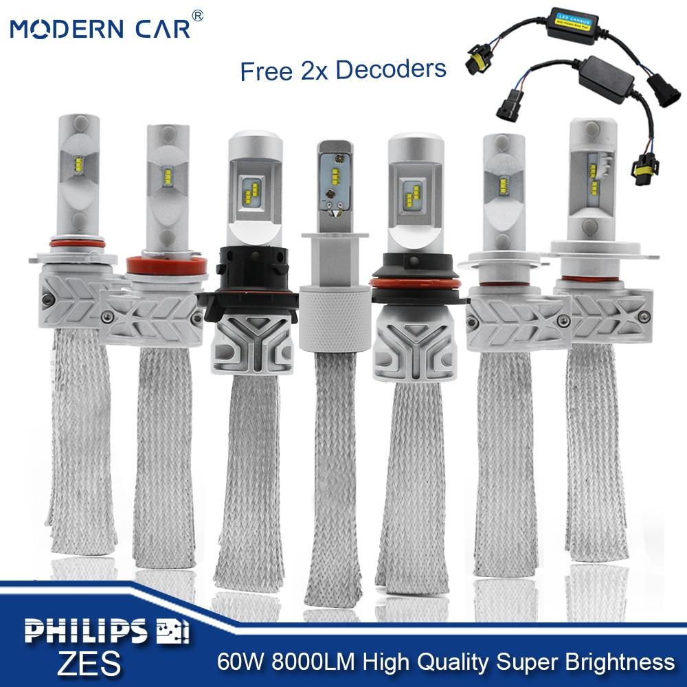 MODERNE AUTO H4 H7 H11 9005 9006 H1 H13 Auto LED Koplampen Mistlampen 12 v 6000 k 8000lm auto Styling Lumileds ZES Koplampen