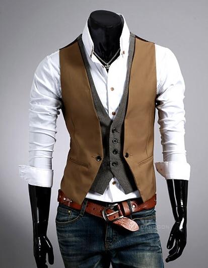 Горячая распродажа мужской костюм из двух частей жилет мужской Приталенный жилет повседневный деловой пиджак размер M-2XL - Цвет: Camel