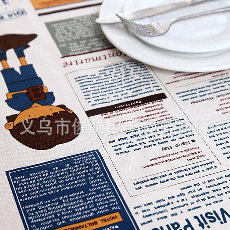Скатерть хлопок холст покрытие стола Коврики мультфильм Париж газета Кофе Скатерти крышка