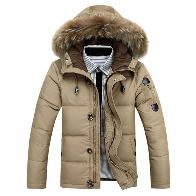 2017 Hot Sale Men Hooded Down Jacket Coat Thick Winter Jackets Warm Duck Down Padded Packable Parka M-XXXL outwear Sportswear