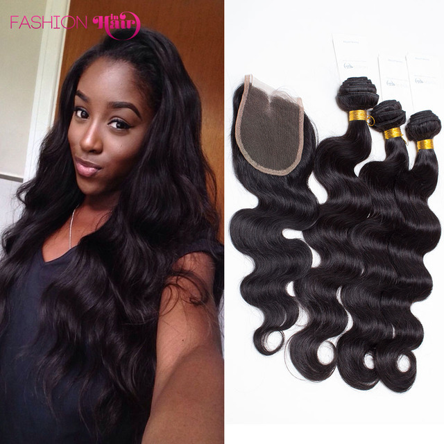 Brazilian Closure Body Wave 6a Mocha Hair 4 Bundles Good Weave 100