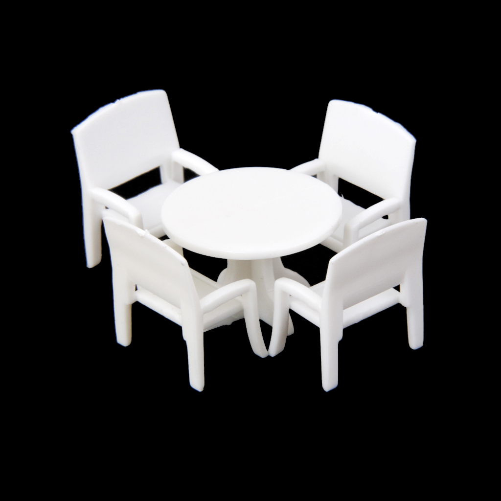 5pcs Dollhouse Miniature Model Set Round Dining Table with 4 Chairs 1:100 Classsic Furniture Toys for Dolls Decor Accessories