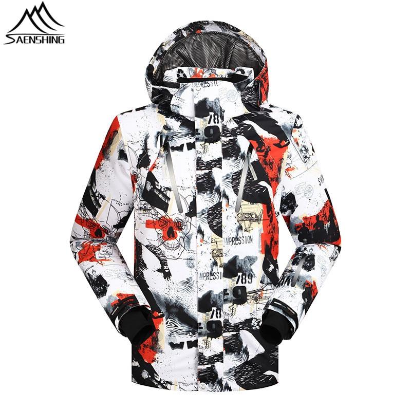 SAENSHING font b Ski b font Jacket Men Winter Waterproof Windproof Snowboard Snow Jacket Camo Pattern