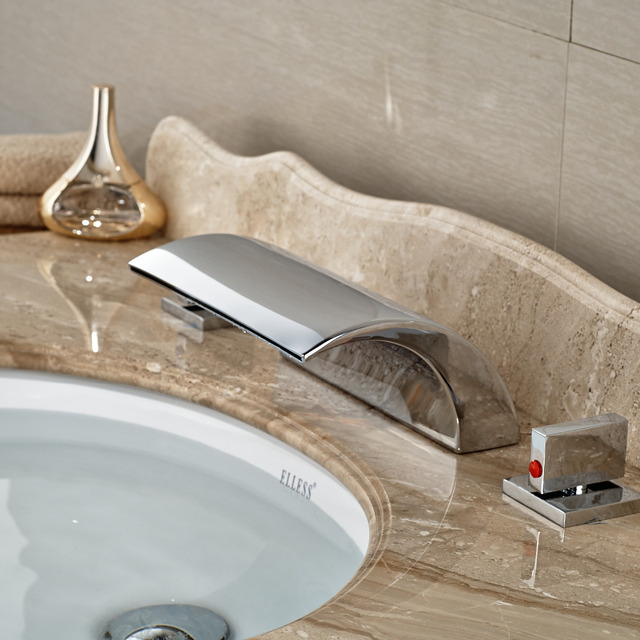 Whole And Retail Polished Chrome Waterfall Bathroom Basin Faucet Deck Mount Br Valve 3 Holes Install