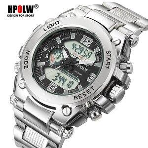 Image 2 - Relógios de pulso dos homens dos esportes led digital relógio de quartzo prata moda à prova dwaterproof água relógio topo marca de luxo cronógrafo masculino relógios