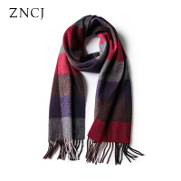 ZNCJ Scarf Men 100 Mongolia Cashmere Scarves Male Fashion Plaid Cape Accessories Adult High Quality England