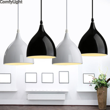 Modern Iron Pendant Lights Lamparas Black White Lamp Shade Luminaire Dining Room  Lights Pendant Lamp For Home Lighting Brief Cup Part 82