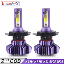 BraveWay H4 Led Bulbs H1 H3 H11 H7 LED H8 Ice Lamp for Atuo Diode Lamps Cars HB4 9006 HB3 9005 12000LM 12V Light Bulb