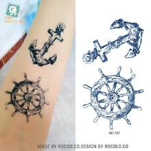 2 PCS Real Sale Temporary Tattoo Tattoo Custom Disposable Waterproof Mens Pirate Seaman Anchor Rudder Culture Pattern Hc1137