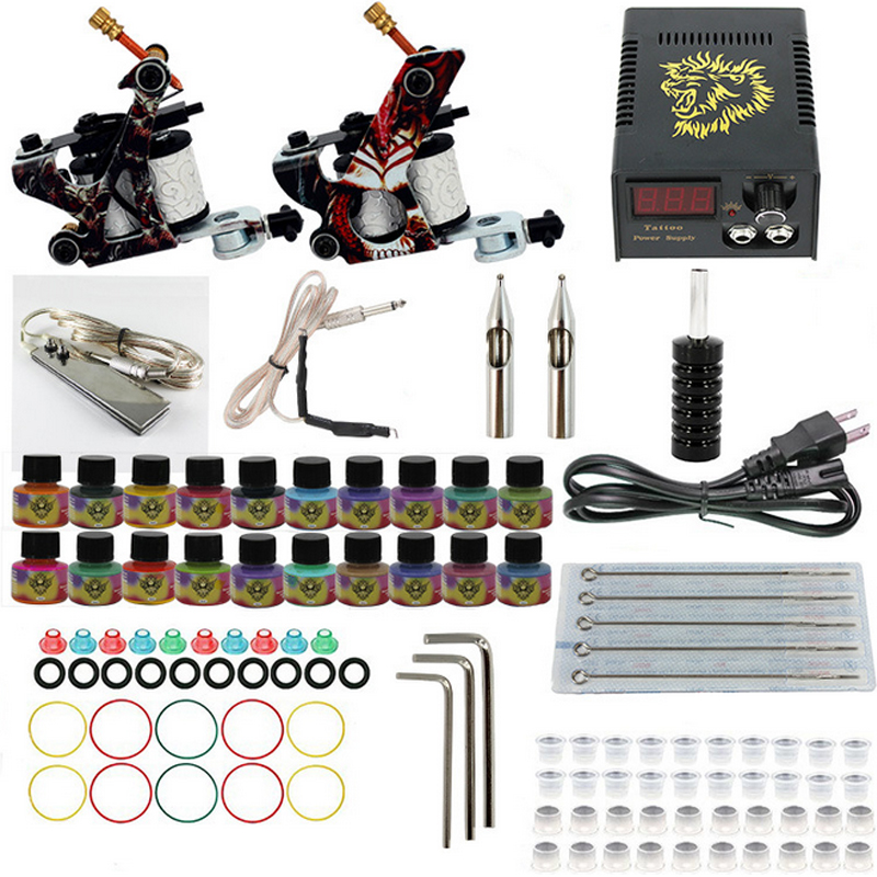 Professional Tattoo set Complete Equipment dual Tattoo kit 2 Machine Gun 20 color Inks Power Supply Cord Kit Body  DIY Tools p80 panasonic super high cost complete air cutter torches torch head body straigh machine arc starting 12foot