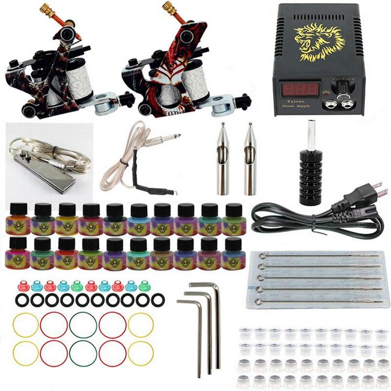 Professional Tattoo set Complete Equipment dual Tattoo kit 2 Machine Gun 20 color Inks font b