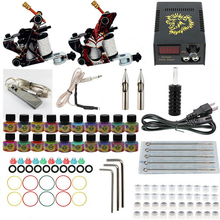 Professional Tattoo set Complete Equipment dual Tattoo kit 2 Machine Gun 20 color Inks Power Supply Cord Kit Body  DIY Tools