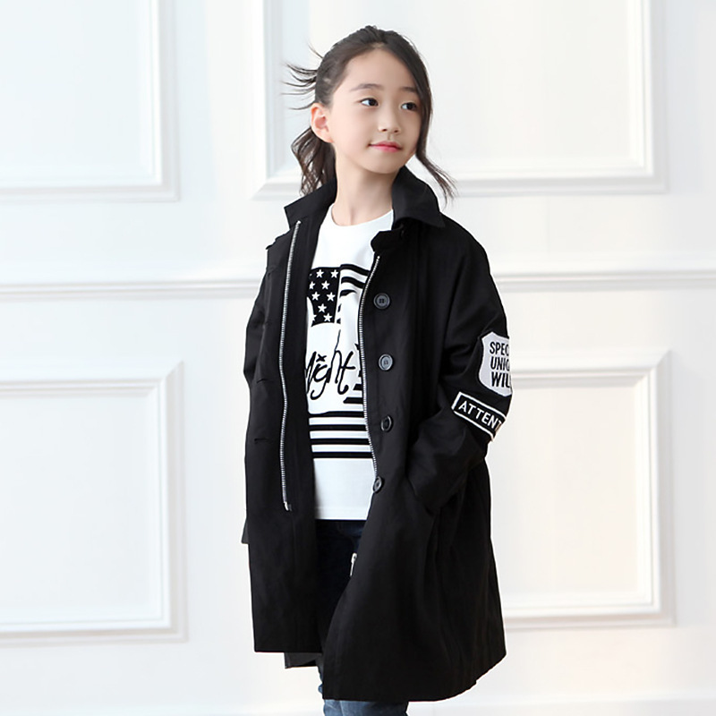 ФОТО 2016 Jackets For Girls Spring Jacket Cotton Bat Sleeve Trench Coat Children Kids Clothes Windbreaker Cardigan Outerwear & Coats
