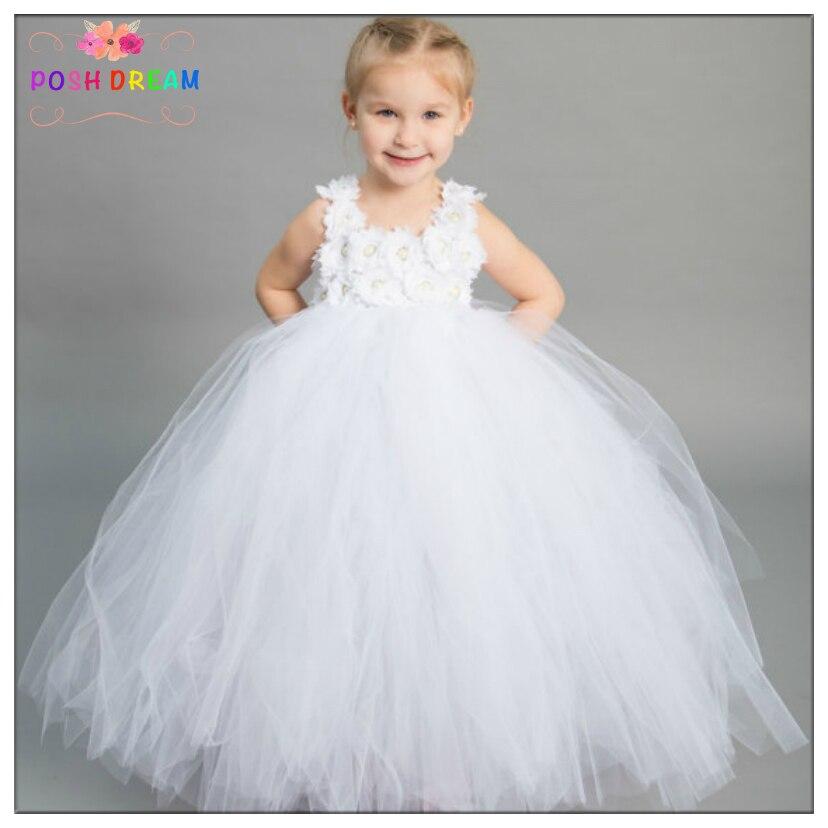 POSH DREAM Beautiful White Flower Girl Wedding Party Dress Baptism Flower Girl Dress White Infant Toddler Baby Christening Dress
