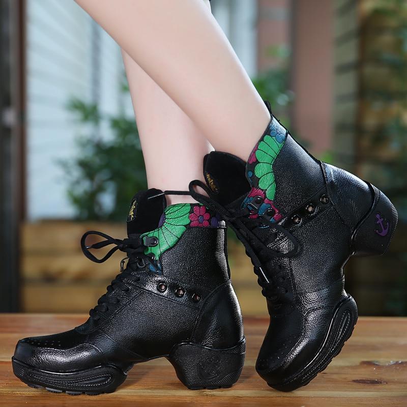 Dancing Shoes Woman Square Sports Boots Women Dance Shoes Leather Lace Cloth Shoes Breathable Modern Dance Shoes Net Boot