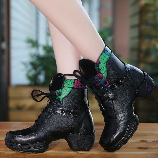 0751a4bd756 Dancing Shoes Woman Square Sports Boots Women Dance Shoes Leather ...