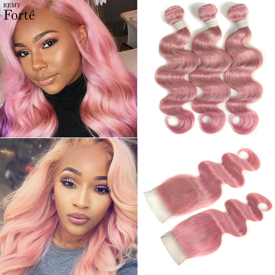 Remyforte Pink Panther Bundles With Closure Body Wave Bundles With Closure Human Hair Bundles With Closure For VIP Fashion Girl