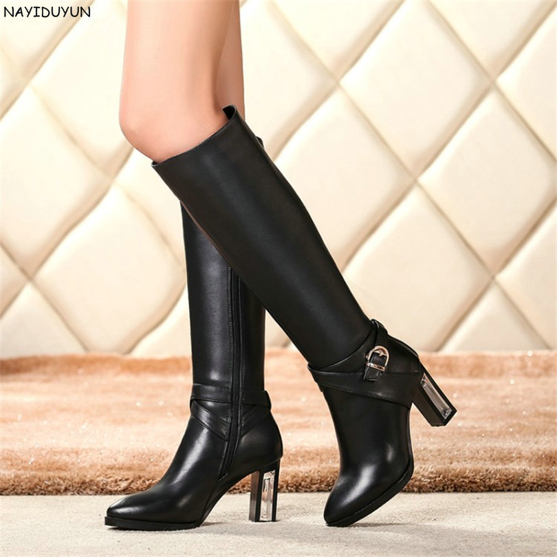 NAYIDUYUN  New Super High Heel Cow Leather Thigh High Winter Boots Women Point Toe Knee High Boots Party Pumps Casual Warm Shoes nayiduyun new fashion thigh high boots women genuine leather round toe knee high boots high heel party pumps casual shoes