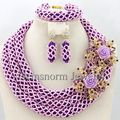 Púrpura Nigeriano Boda Perlas Africanas Joyería Conjunto de Cristal Collar de Las Mujeres Joyería Nupcial Conjunto Flor Broches Envío Gratis WB731
