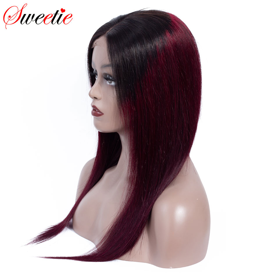 Sweetie 13x4 Lace Front Human Hair Wigs Brazilian Straight Lace Front Wig 1b/99J/30 Remy Human Hair Ombre Wigs For Black Women