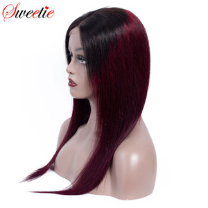 Image 1 - Sweetie 13X4 Ren Mặt Trước Con Người Tóc Giả Brasil Thẳng Ren Mặt Trước Tóc Giả 1B/99J/30 Remy tóc Ombre Tóc Giả Cho Nữ Màu Đen