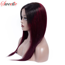 Sweetie 13x4 koronki przodu włosów ludzkich peruk brazylijski prosto koronkowa peruka na przód 1b/99J/30 Remy ludzki włos Ombre peruki dla czarnych kobiet
