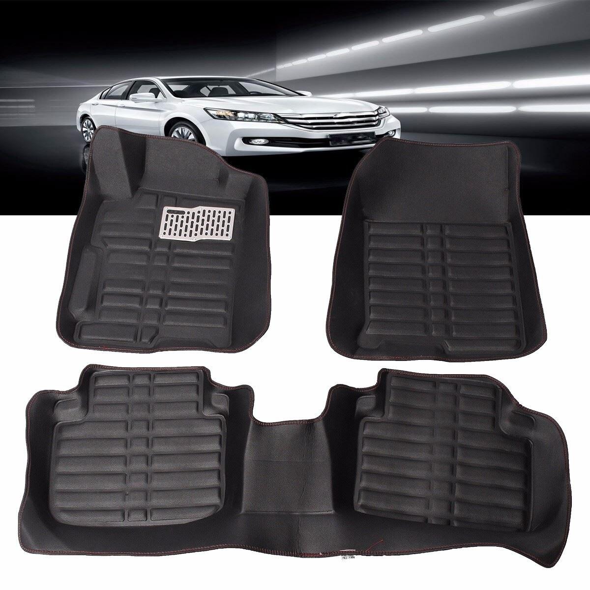 Rubber floor mats singapore - 3pcs Set Car Floor Foot Pad Front Rear Liner Waterproof Mat Floor Mats Car