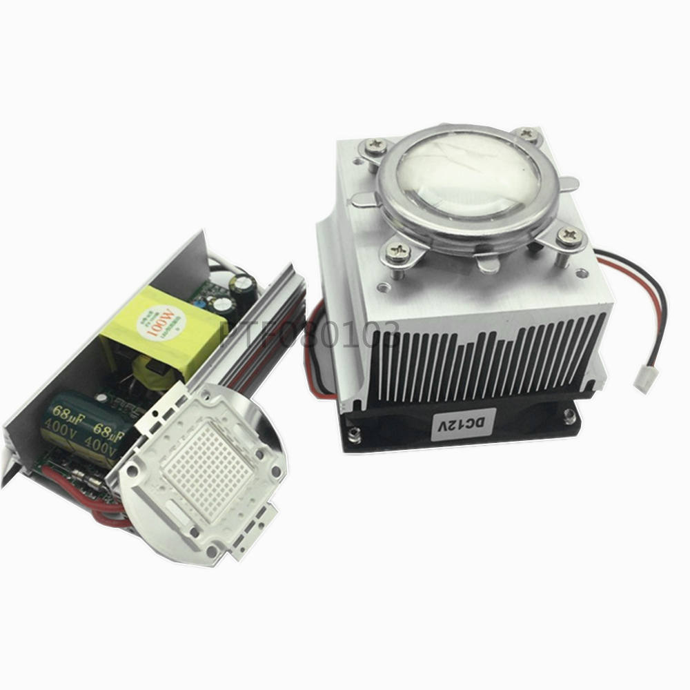 <font><b>100W</b></font> LED UV 395-400nm led chip +<font><b>100W</b></font> AC 85-265V driver + <font><b>heatsink</b></font>+ 90 degree Lens with Reflector Collimator kit image