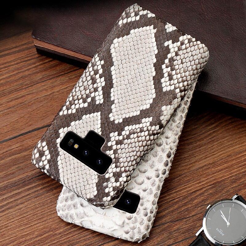 Luxe Téléphone étuis pour samsung Galaxy S6 S7 S8 S9 S10 Plus Python Véritable coque peau Pour Note 8 9 A5 A7 A8 2018 J3 J5 J7 2017 cas