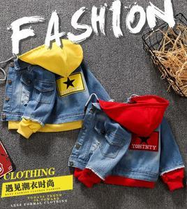 Image 5 - Boy girl Denim Jackets kids jeans coat Children splice Outerwear clothing Spring Autumn boy hooded sport Clothes For 1 6T kids